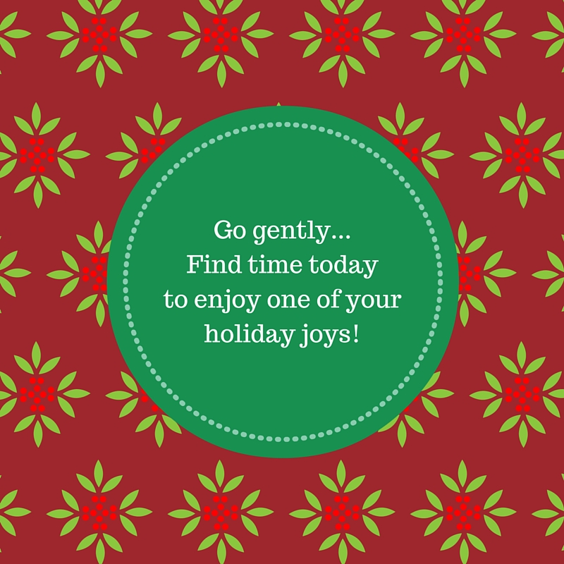 Go Gently...Find time today to enjoy one of your holiday joys